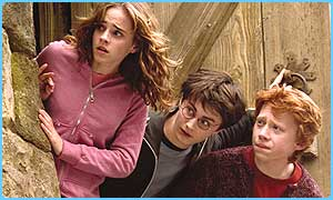 Emma Watson (Hermione), Dan Radcliffe (Harry) and Rupert Grint (Ron)