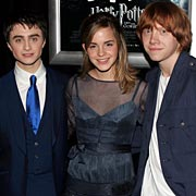Fire stars: Daniel Radcliffe, left, Emma Watson and Rupert Grint at the premiere in New York.