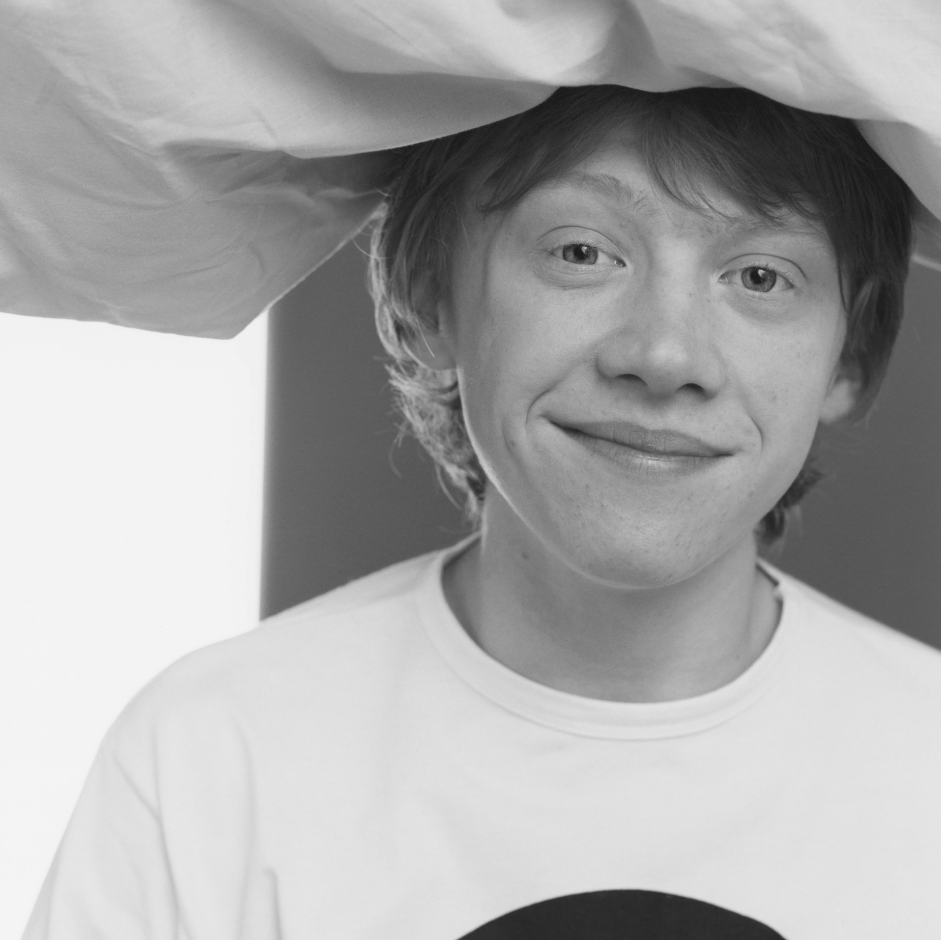 Rupert Grint with Pillow on Head